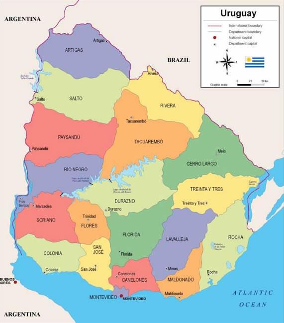 Foto 1 - Mapa Uruguai